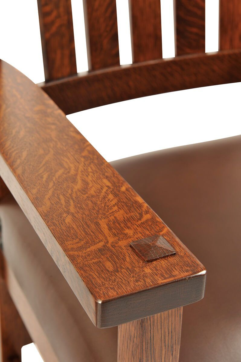 Through tenon detail of Santiago Mission Arm Chair