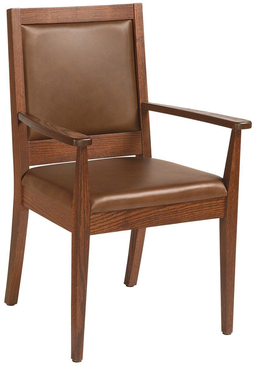 Vesper Leather Arm Chair in Oak