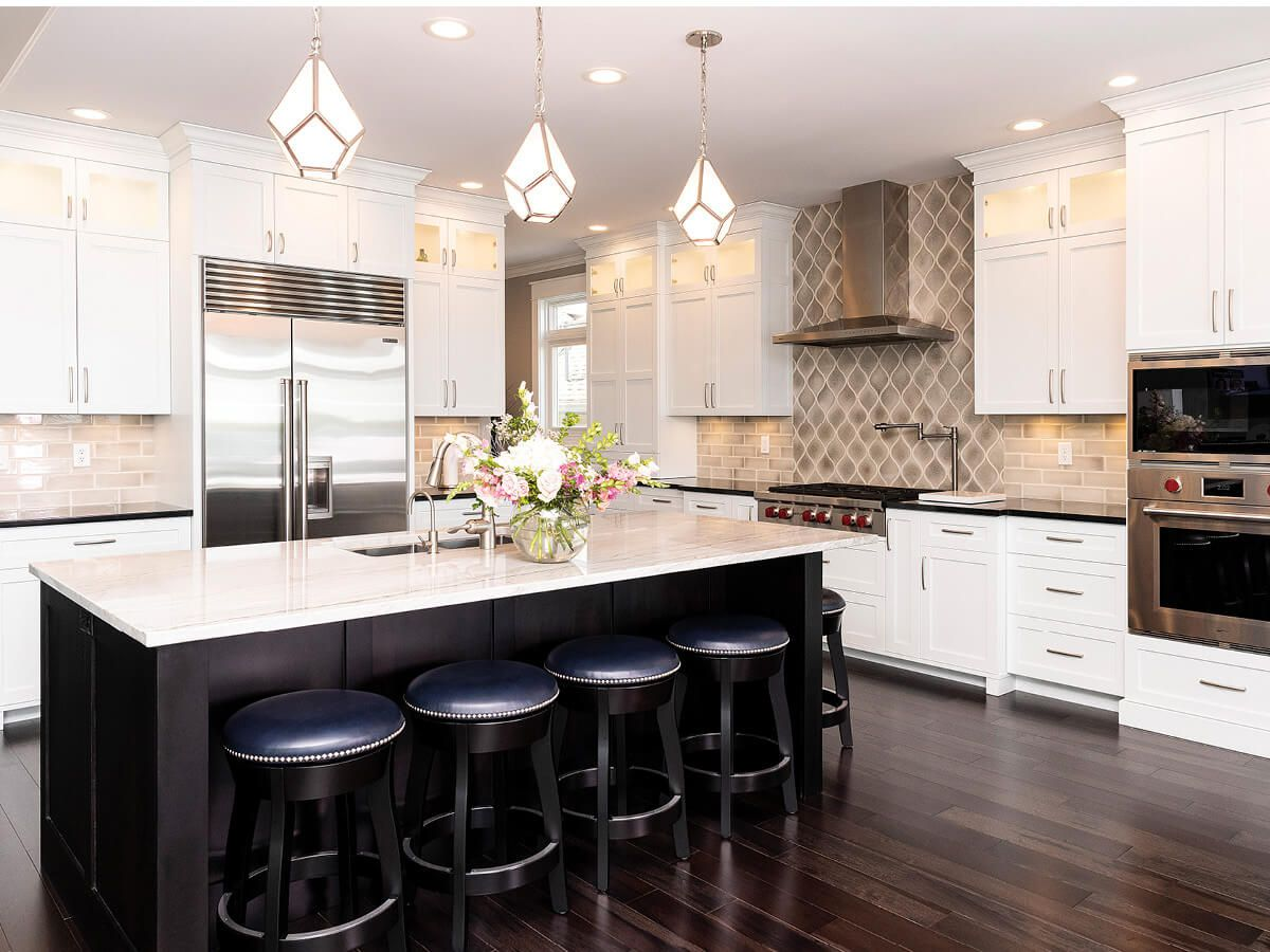 Modern Kitchen with Leather Stools