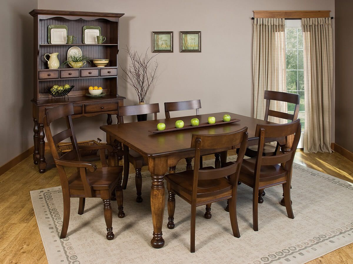 Jolie French Country Dining Set in Brown Maple