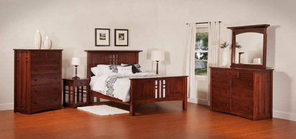 mission style bedroom set. The clean lines of our Bellingham Bedroom Set are accented with exposed  tenons for your Mission style bedroom interior Style Furniture Countryside Amish