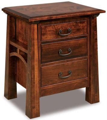 Bellevue 3-Drawer Nightstand in Rustic Cherry