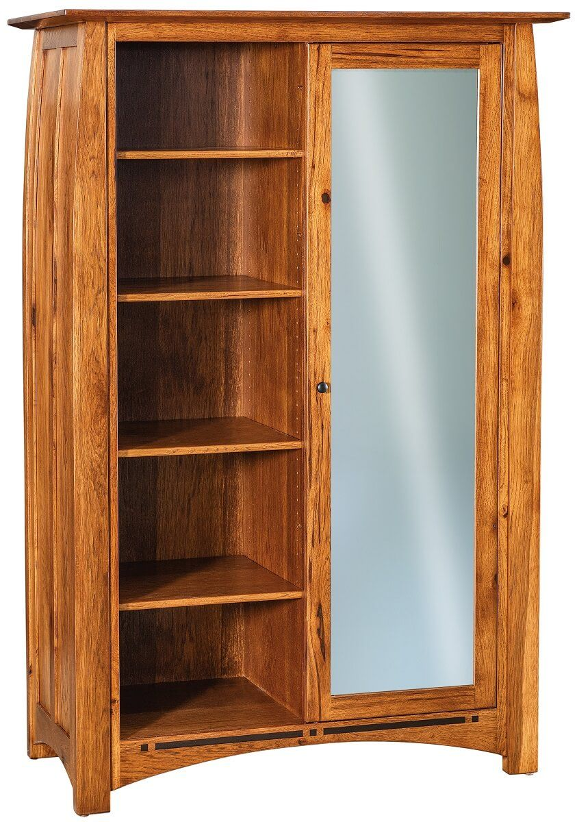 Rustic Hickory Armoire with Mirror
