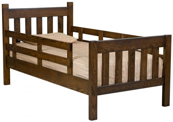 Oak Bed with Safety Rail