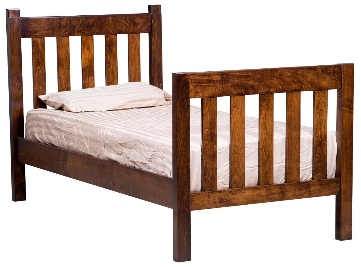 Brown Maple Twin Bed