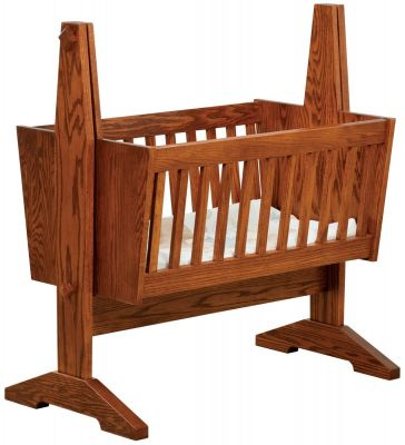 Southwest Mission Wooden Baby Cradle