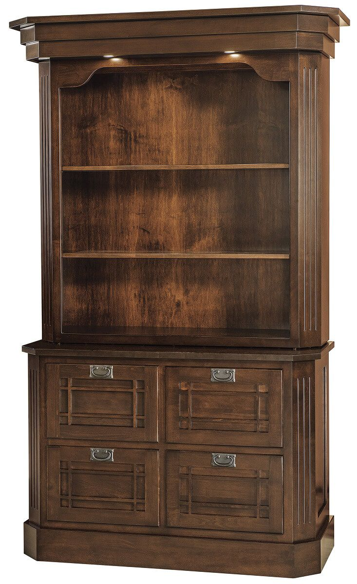 Dearborn 4-Drawer File with Bookcase