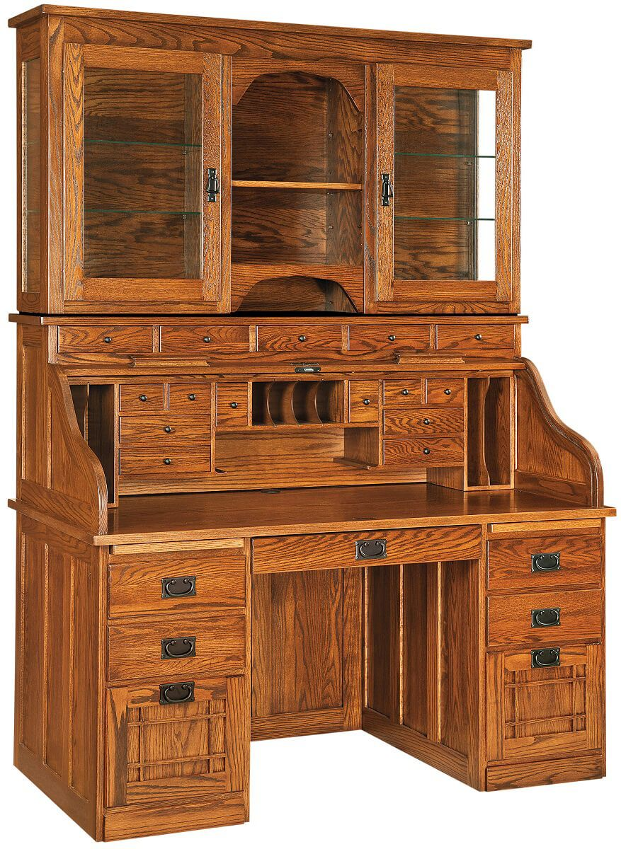 instructors roll top desk with hutch countryside amish furniture. Black Bedroom Furniture Sets. Home Design Ideas