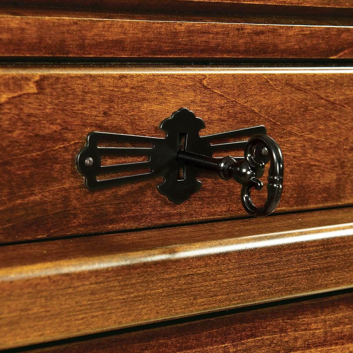 Keyed Tambour Lock on Roll Top Desk