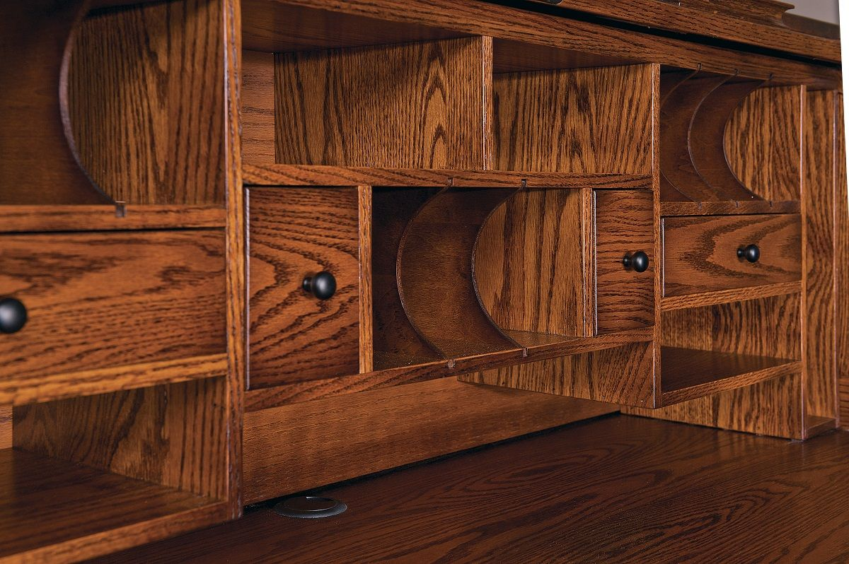 Oak Roll Top Desk Interior