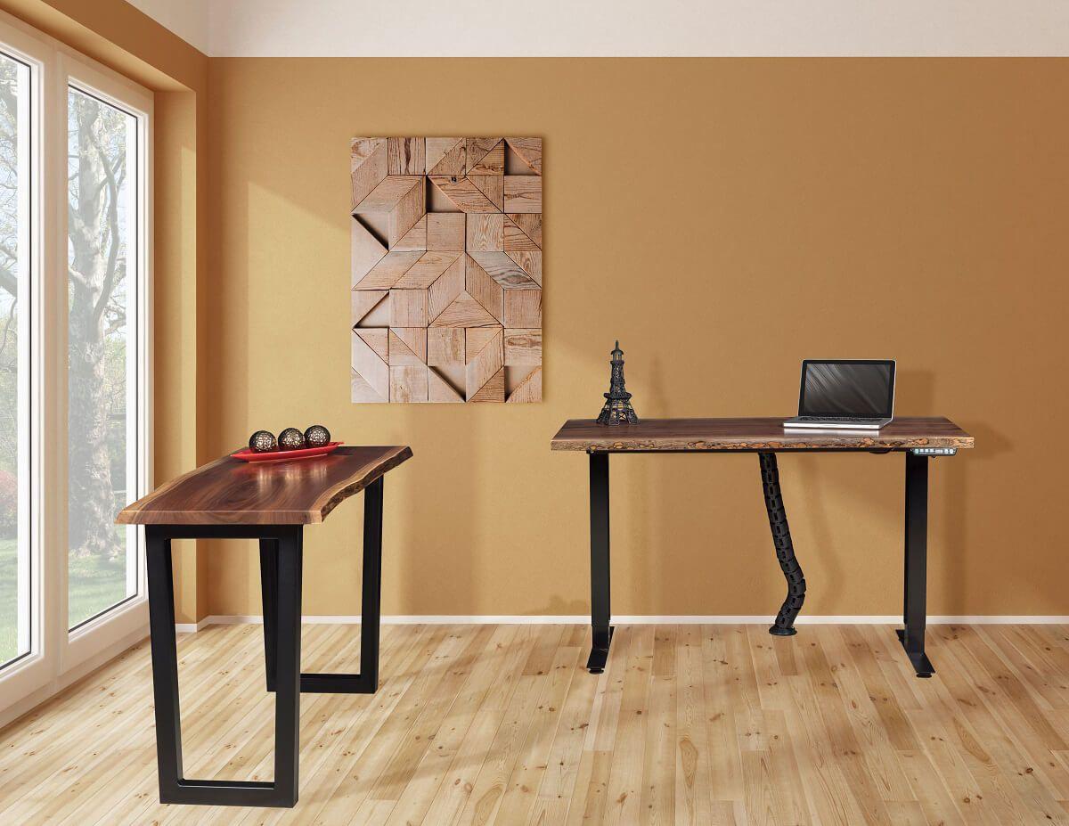 Chadron Live Edge Writing Desk and Adjustable Desk
