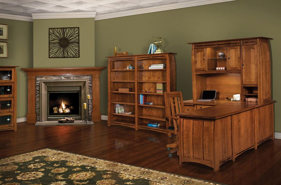 Coronado craftsman style office set countryside amish for Craftsman style office