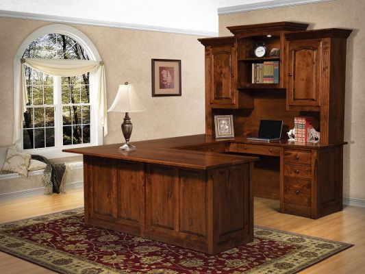Rustic Cherry U Shaped Office Desk
