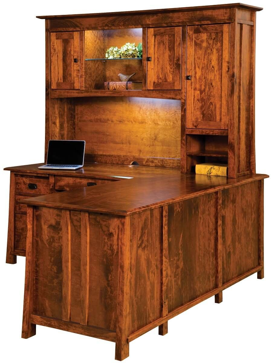 Rustic Cherry Amish Corner Desk