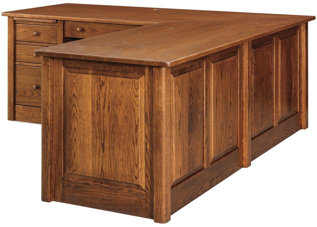 Oak L-Shaped Computer Desk