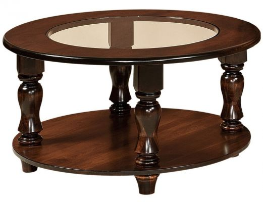 Church Gill Round Glass Topped Coffee Table