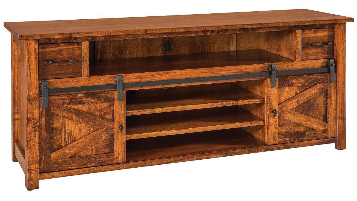 Brown Maple Barn Door Console