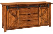 Rustic Console with Sliding Barn Doors