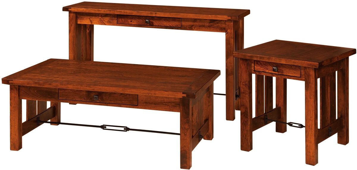 Rustic Cherry Living Room Accent Tables