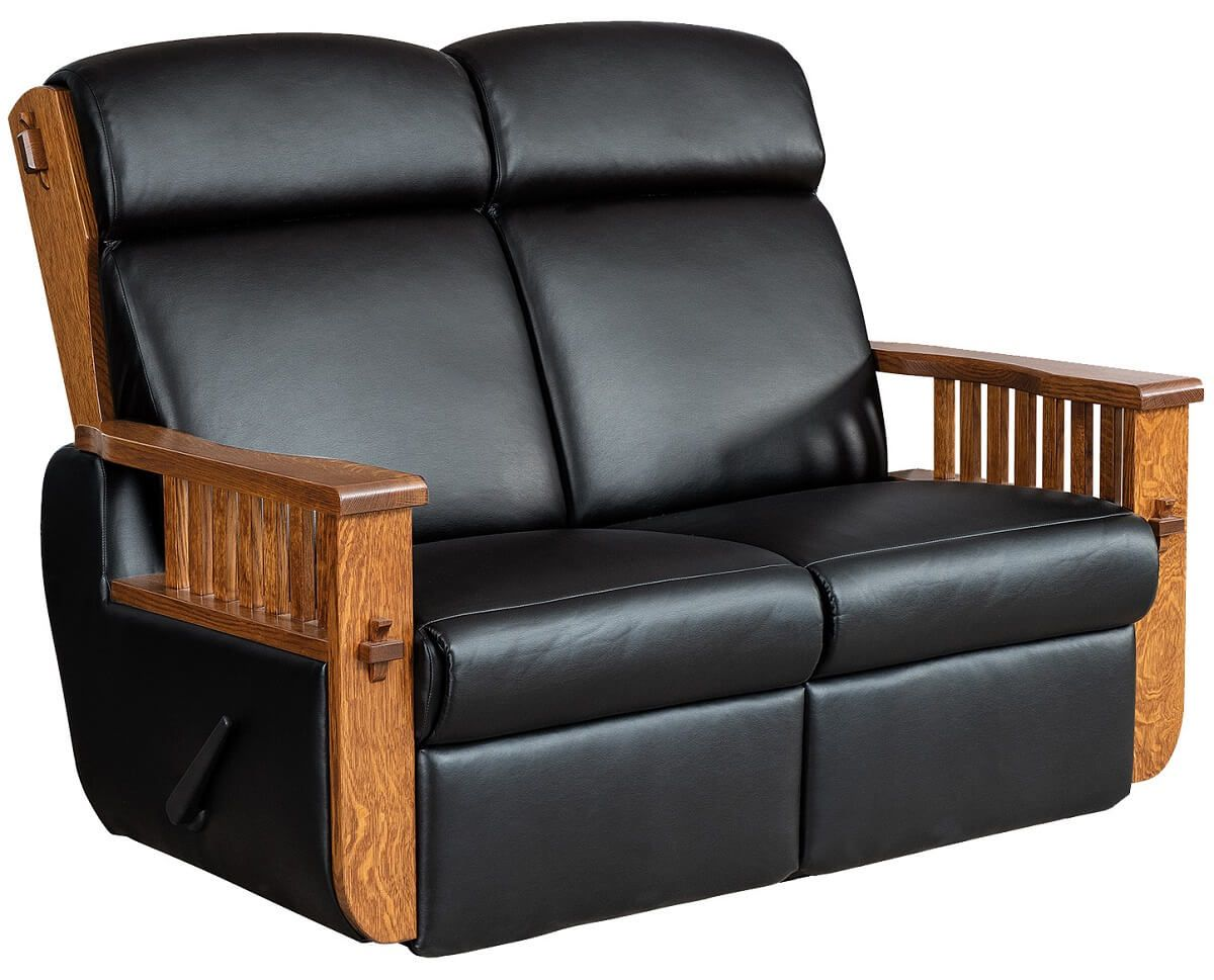 Mission Leather Reclining Loveseat