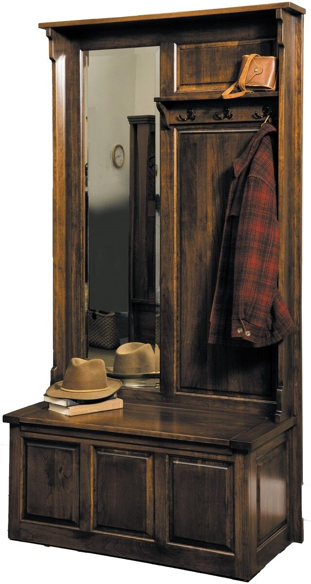 Rustic Fort Pierce Coat Rack Bench in Cherry