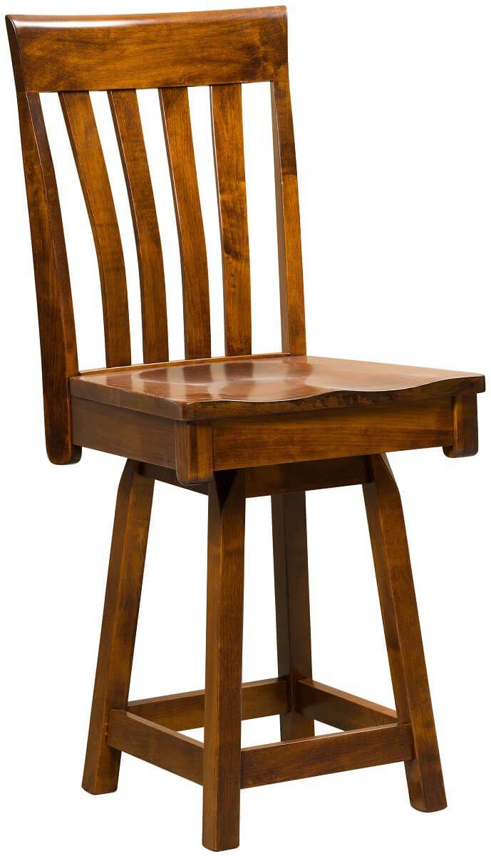 Castleton Swivel Bar Chair in Brown Maple