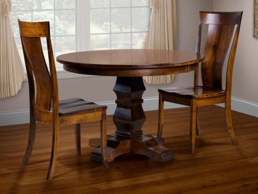 Duvall Pedestal Table and Demeter Side Chairs