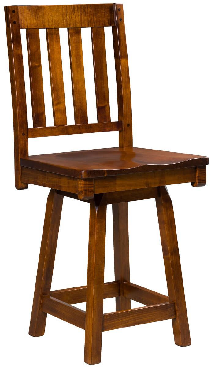 Hotchkiss Swivel Barstool in Brown Maple
