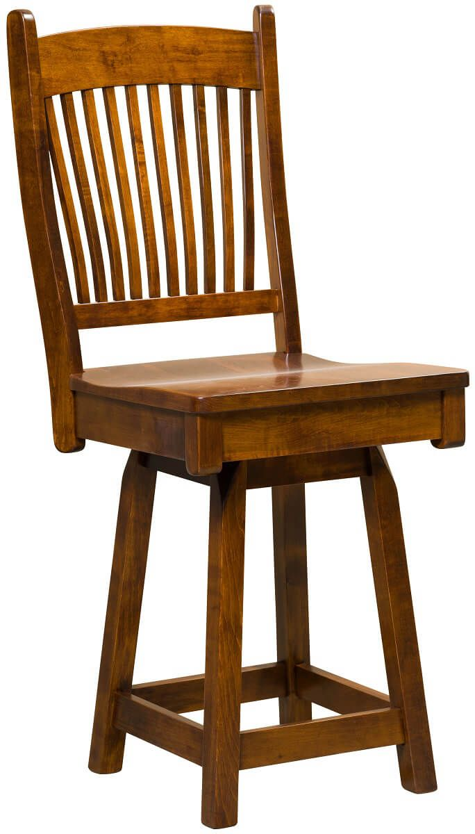Kramer Swivel Bar Chair in Brown Maple