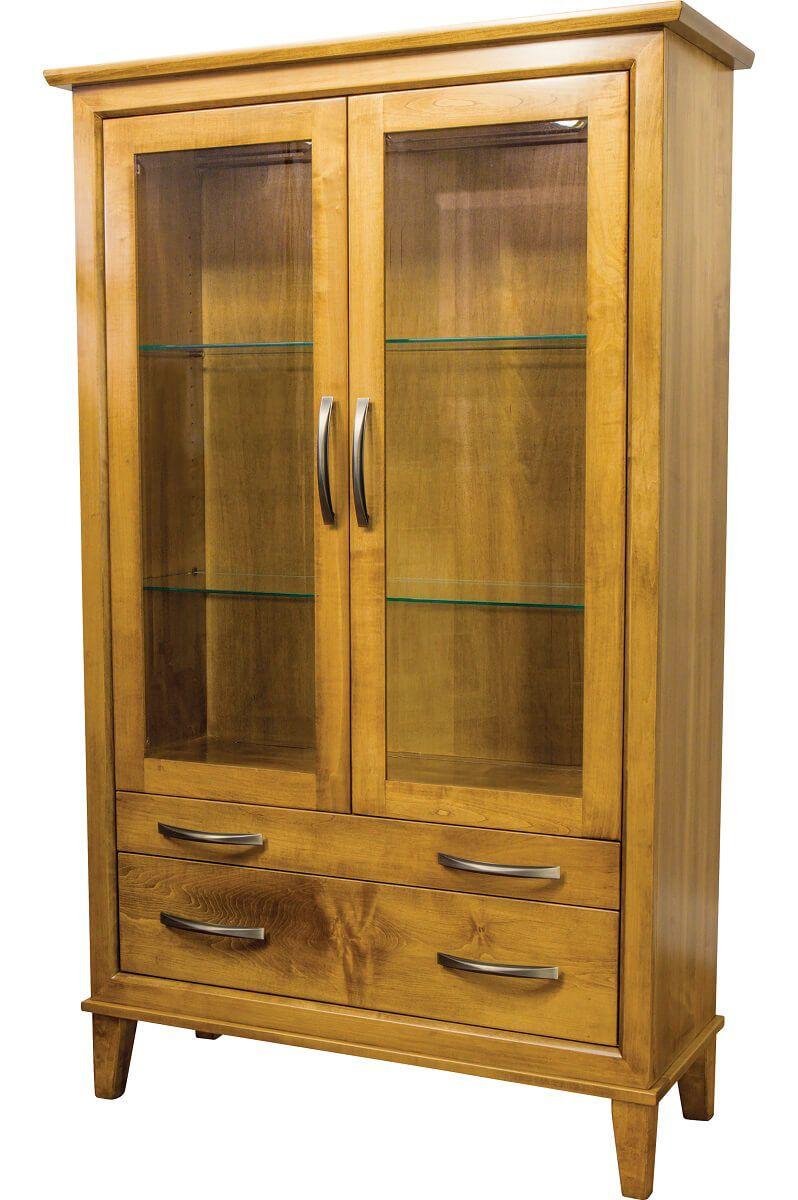 2-Door Hardwood Display Cabinet