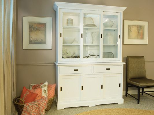 Brown Maple Painted China Hutch