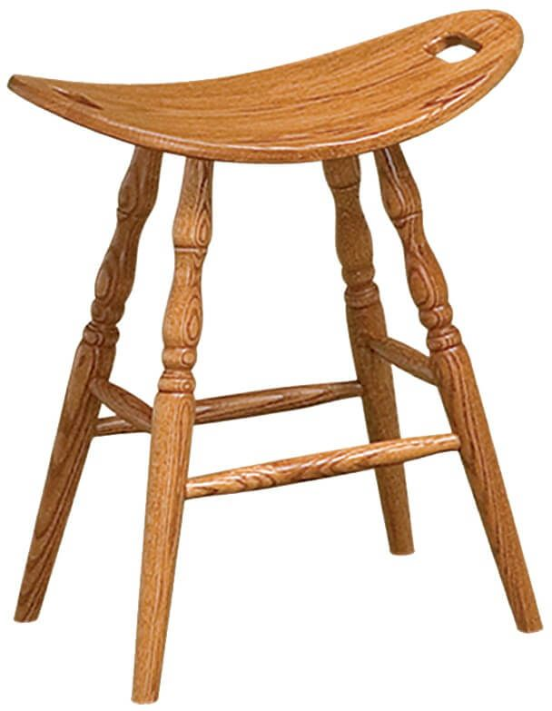 Oak Amish Made Saddle Stool