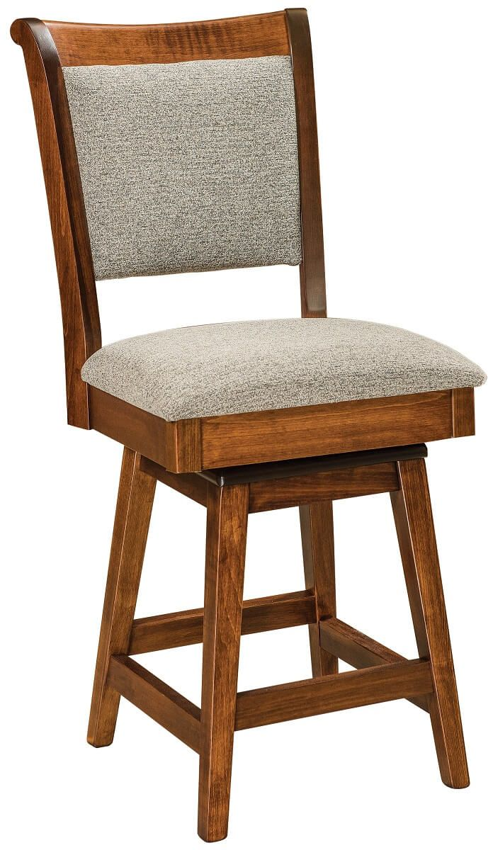 Brown Maple Bar Chair with Swivel Base
