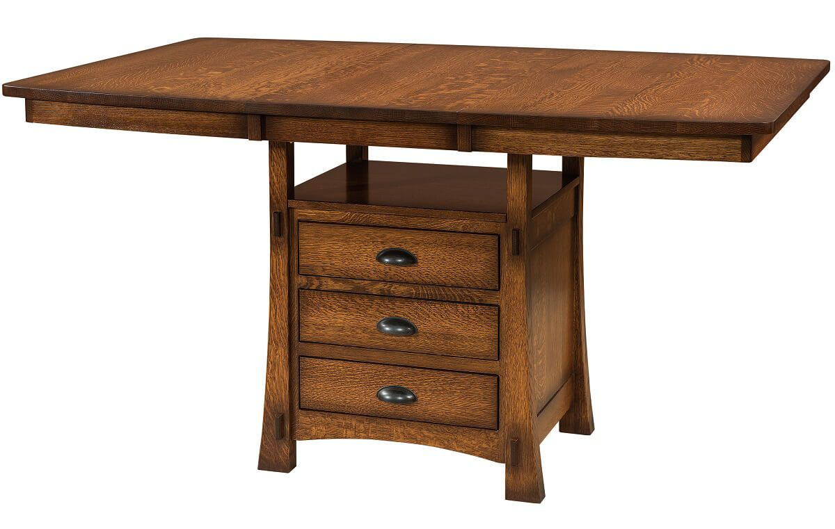 Everest Pub Cabinet Table with Butterfly Leaf Extended