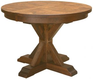 Wooden Round Kitchen Table Single pedestal tables countryside amish furniture hotchkiss rustic round kitchen table workwithnaturefo
