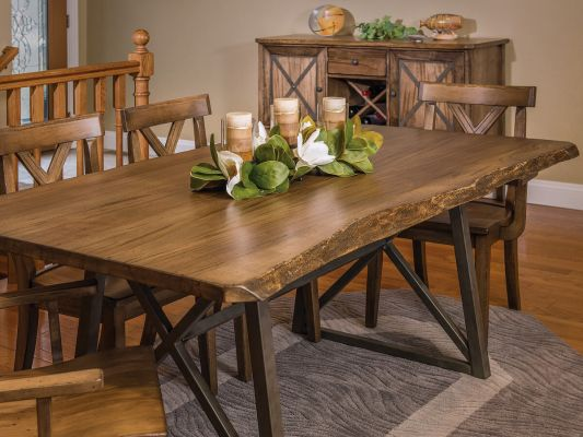 Gaffney Modern Live Edge Dining Table Countryside Amish Furniture