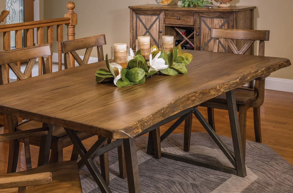 Gaffney Live Edge Dining Furniture Set Countryside Amish Furniture