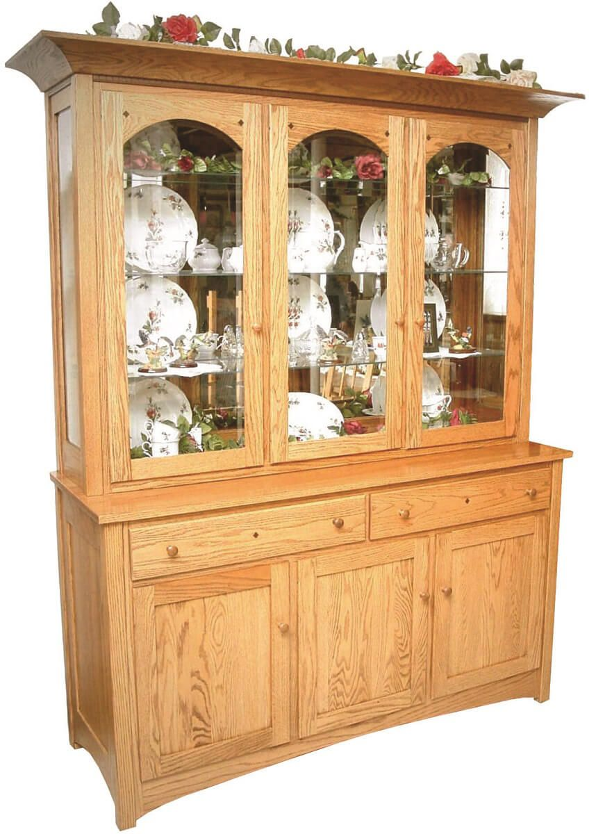 Cabiria 3-Door Hutch shown in Oak