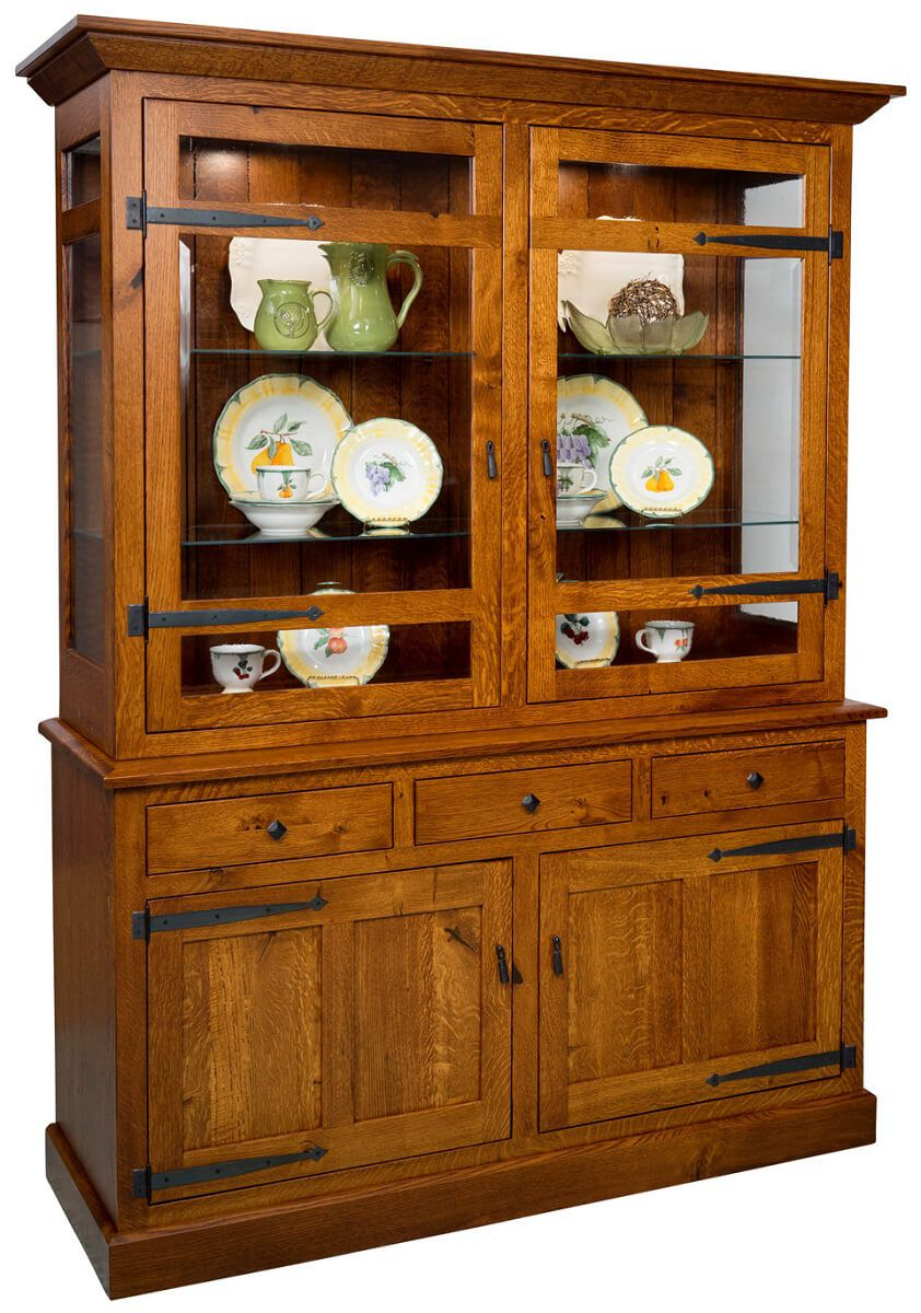 Rustic Oak China Cabinet