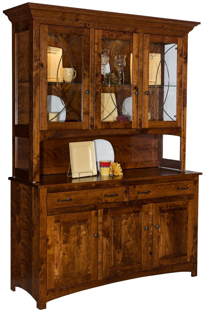 Logan Mill China Cabinet in Rustic Cherry