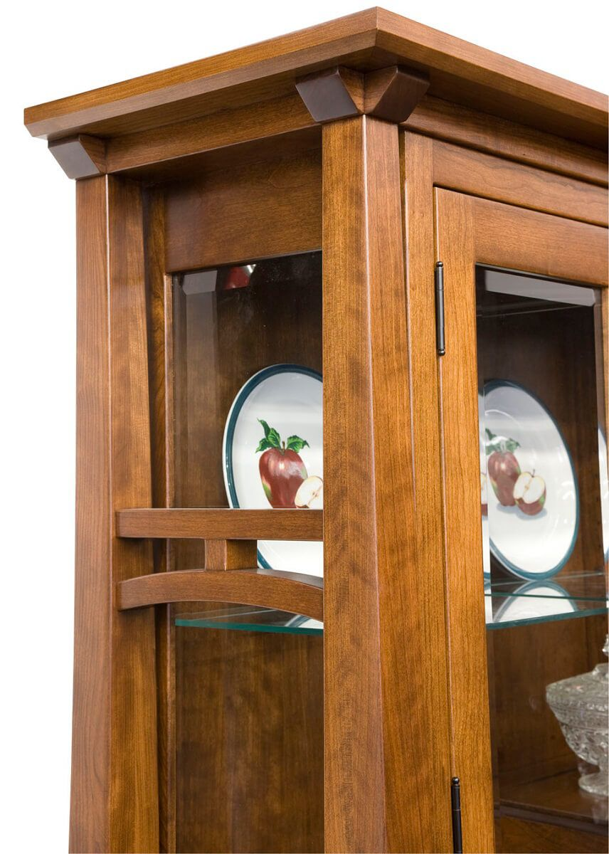 Nuestra Mission arch detail on china hutch top