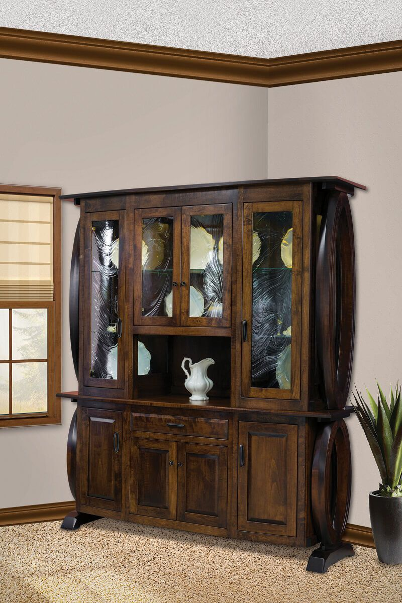Brown Maple Hutch and Buffet