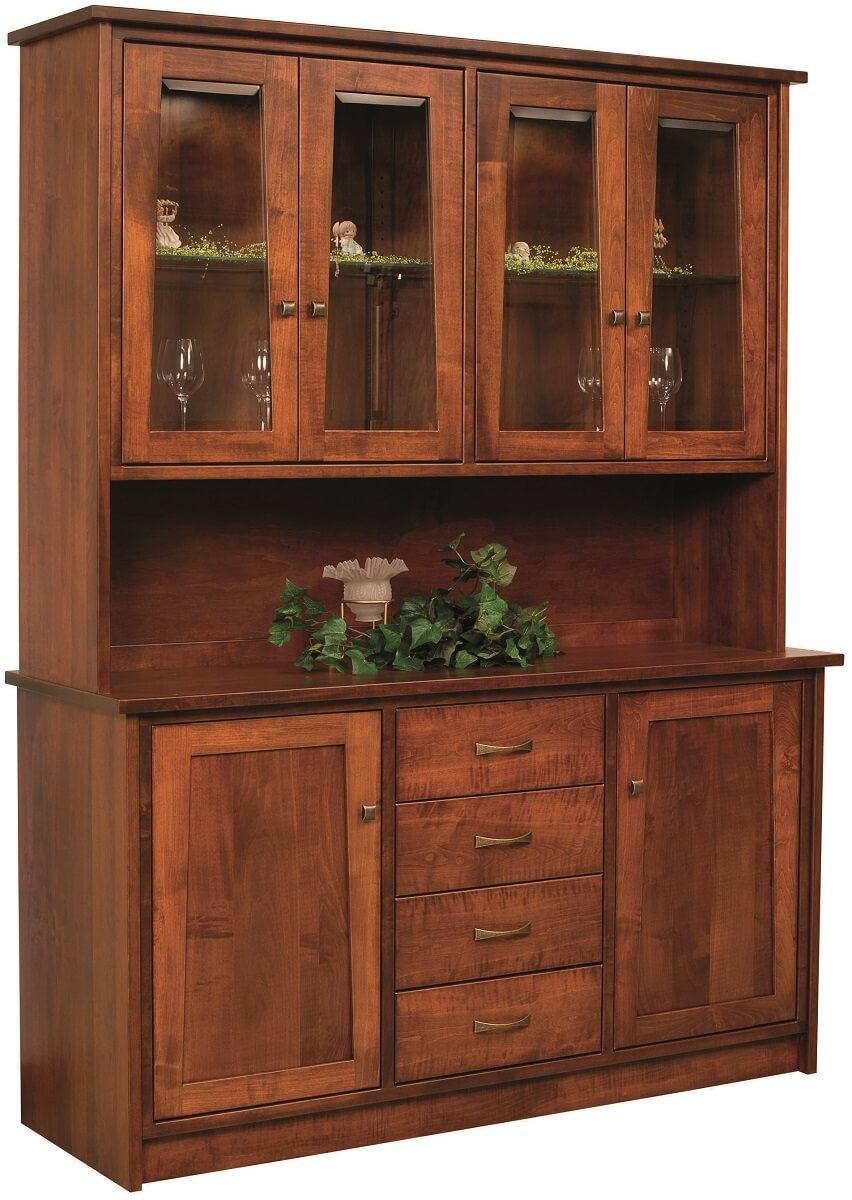 Blue Hills China Hutch in Brown Maple