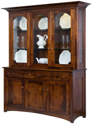 Brown Maple Amish Made China Cabinet