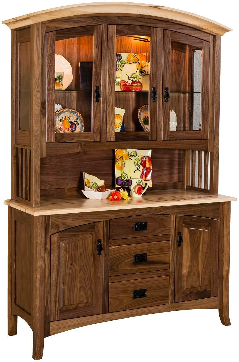 Mountain Park China Cabinet in Walnut and Maple