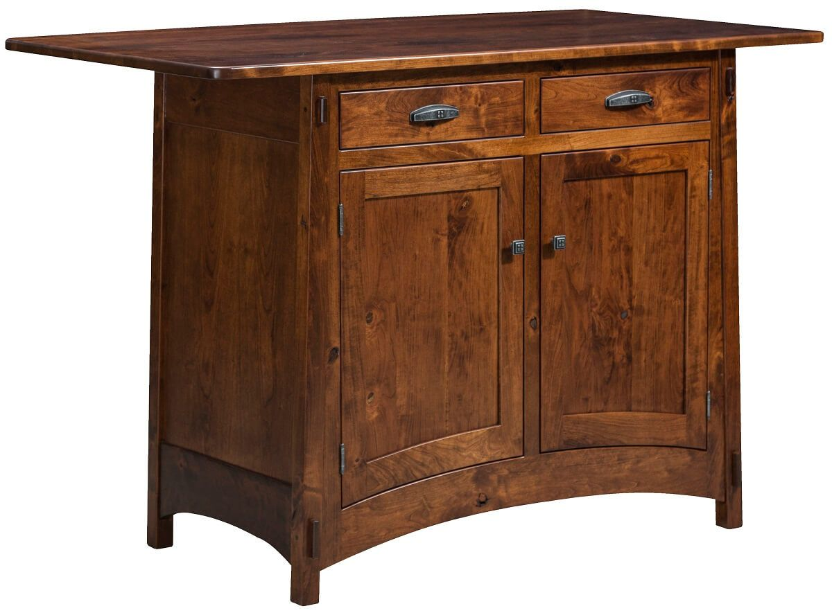 Rosales Kitchen Island Cabinet in Rustic Cherry