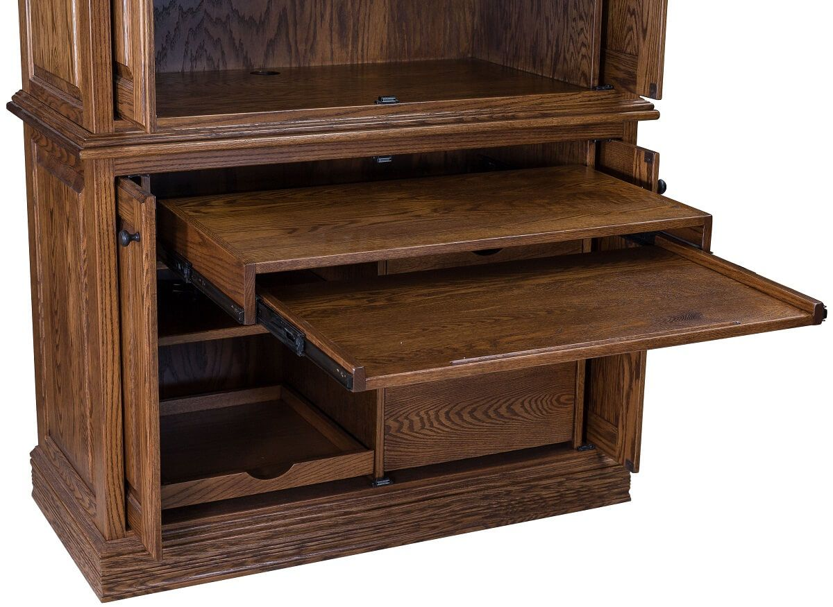 Double Pullout Desk in Office Cabinet