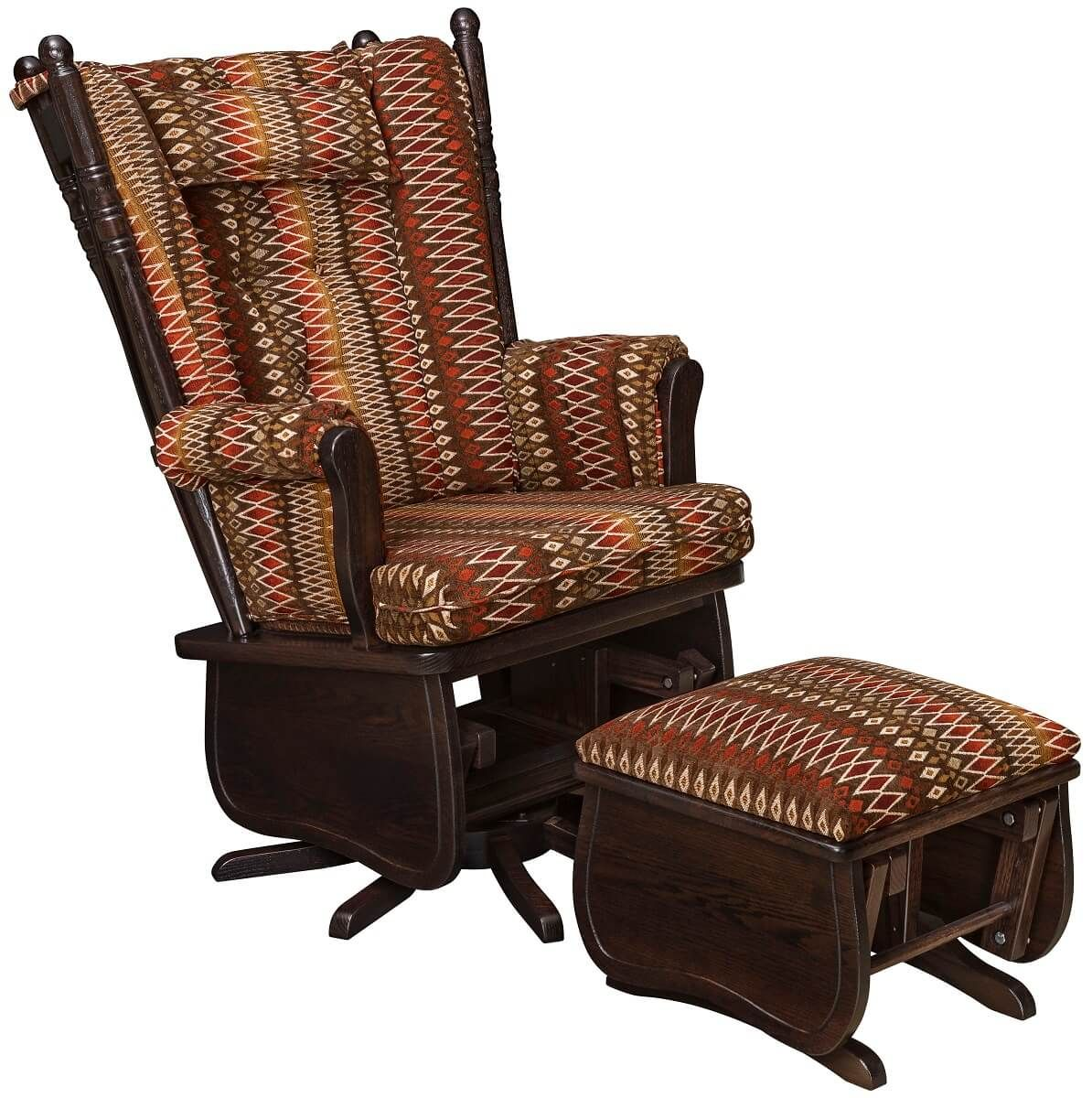 Oak High Back Swivel Glider