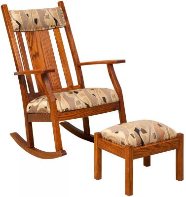 Oak Amish Rocking Chair and Footrest