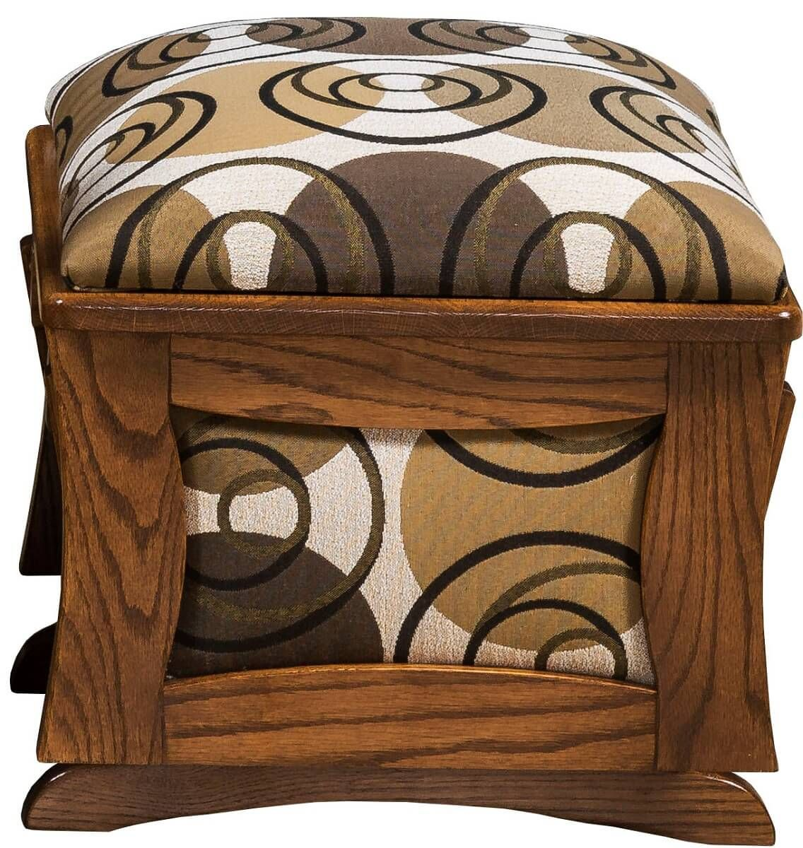 Oak and Fabric Ottoman